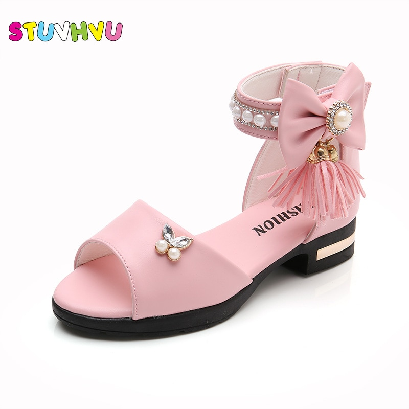 Girls Princess Sandals 2021 Summer Sandals Kids for Party Children's Shoes Pearl Tassel Soft Bottom Korean Roman Size 27-37