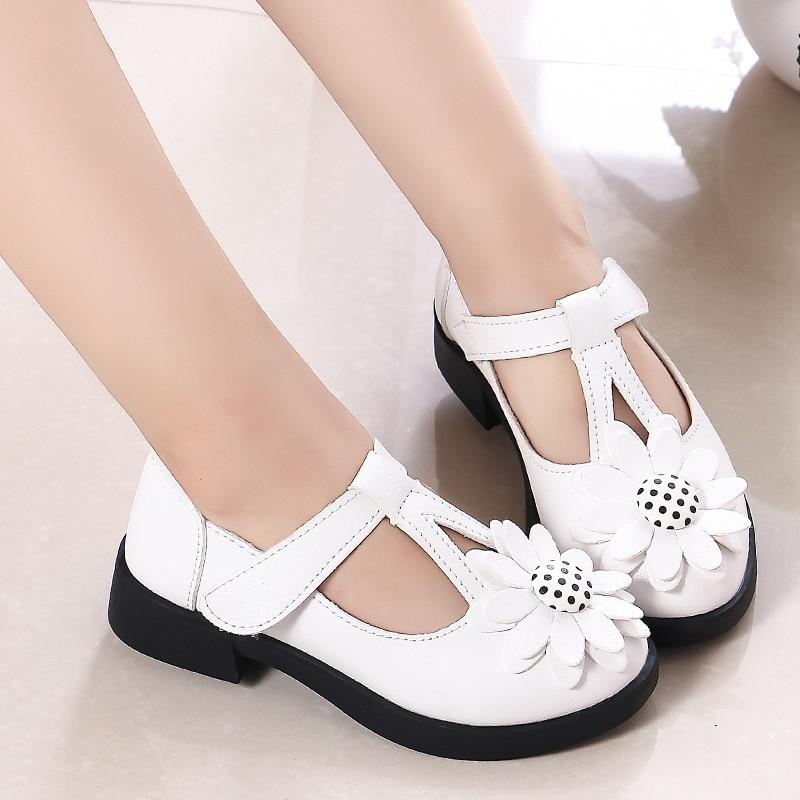 Girls Princess Shoes Leather Dress Shoes Kids Sandals Flowers White Wedding Black School Shoes For Children's Footwear Soft Flat