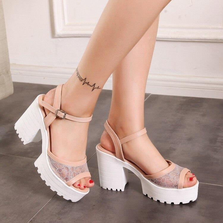 Sandalias de verano con plataforma para mujer, talla grande 11 12 13 14 15, zapatos de mujer, sandalias de malla con boca de pez, sandalias de plataforma a prueba de agua