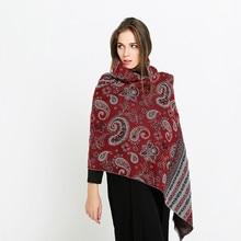 Ethnic Vintage Schal Rot Druck Dicken Warmen Pashmina Winter Baumwolle Kaschmir Multicolor Mode Schal Frauen Großen Schal