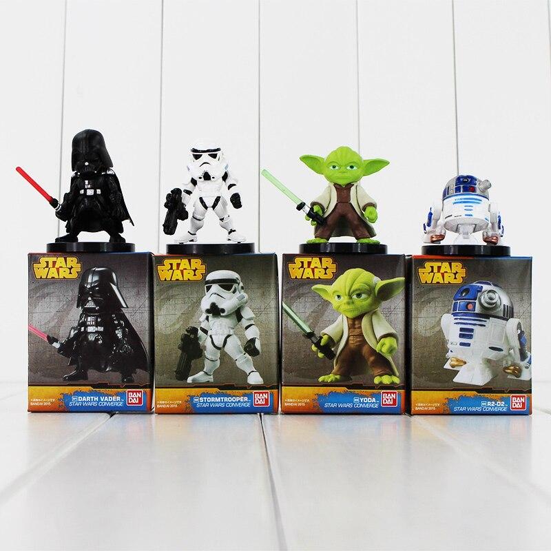 Lote de 4 figuras de acción de Star Wars Darth Vader Yoda, Robot Stormtrooper R2-D2, regalo de Navidad juguetes de coleccionismo de PVC