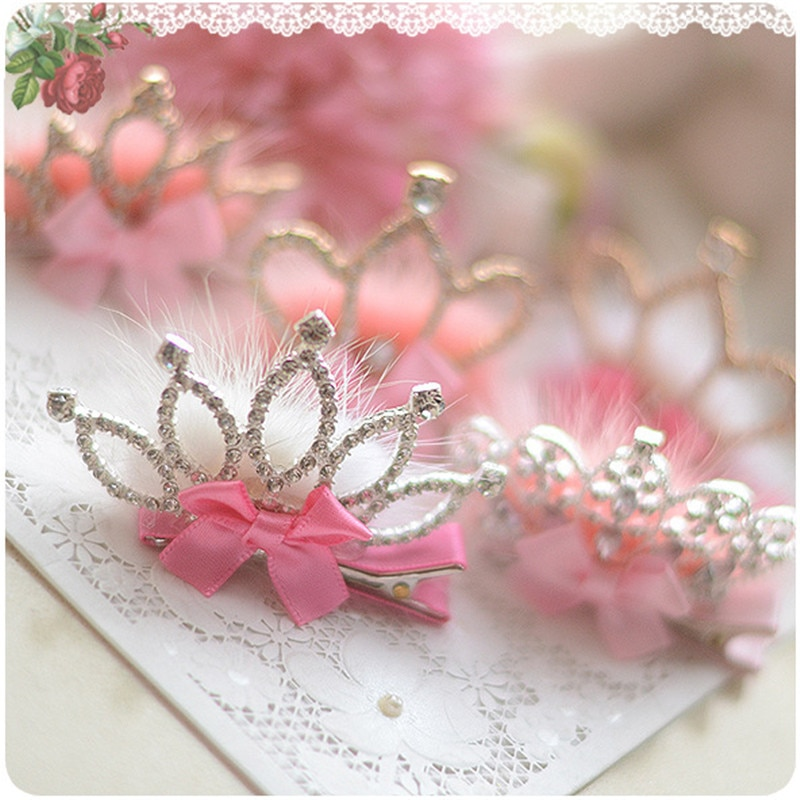 Chiffon boutique princesa coroa headbands meninas bonito tiara clipes de cabelo rainha bege crianças grampos de cabelo banda headwear