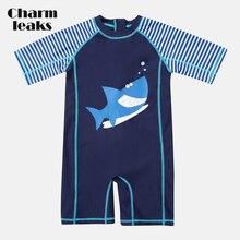 Maillot de bain une pièce charmsander pour bébé garçon, imprimé poisson, maillot de bain à manches courtes pour enfant, protection contre les éruptions cutanées UPF 50 +, vêtements de plage mignons