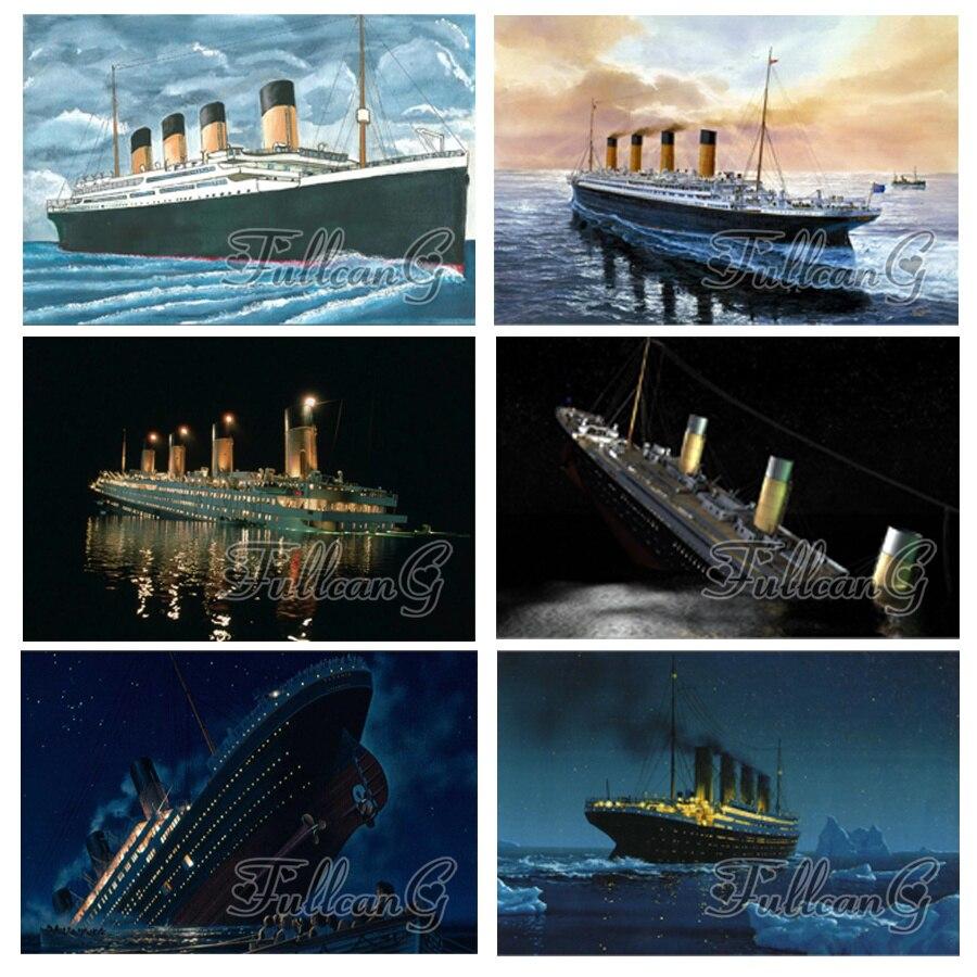 FULLCANG taladro cuadrado completo/redondo 5d diy pintura de diamante titanic mosaico bordado crucero rhinestone kit de punto de cruz FC534