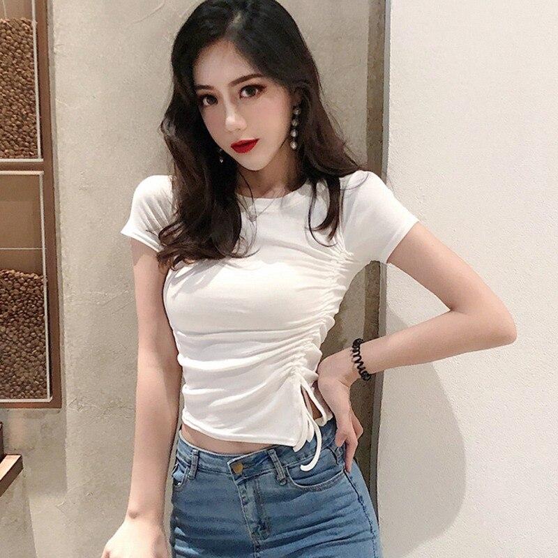 Women O-Neck Short Sleeves Tee Shirt Female T-shirt Fashion Drawstring Slim T-Shirt