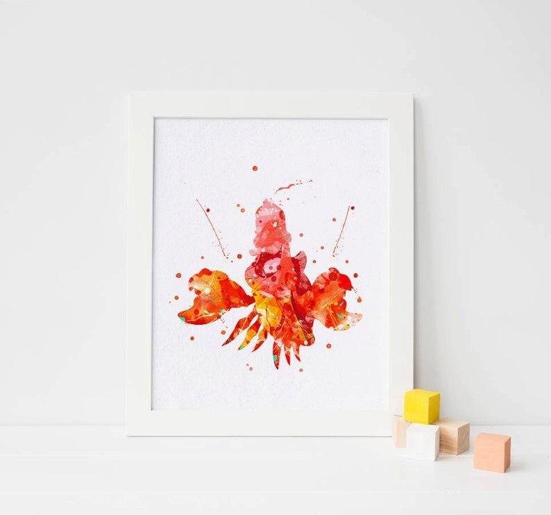 Impresión del cangrejo, Cartel de la acuarela, decoración de la pared de la habitación de los niños, arte de la guardería del bebé, idea del regalo del cumpleaños