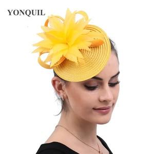 Imitation Straw Yellow Fashion Headwear Cocktail Race Fancy Fascinator Hat Hair Pin Bride Wedding Headdress For Formal Millinery
