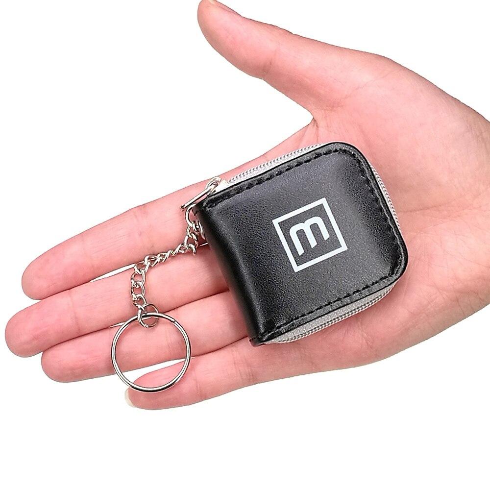 Lindo Negro 6 Ranuras Mini Tarjeta de Memoria de Almacenamiento Caso Bolsa de Transporte Micro SD SIM Nano Pequeña Cartera con llavero Portátil
