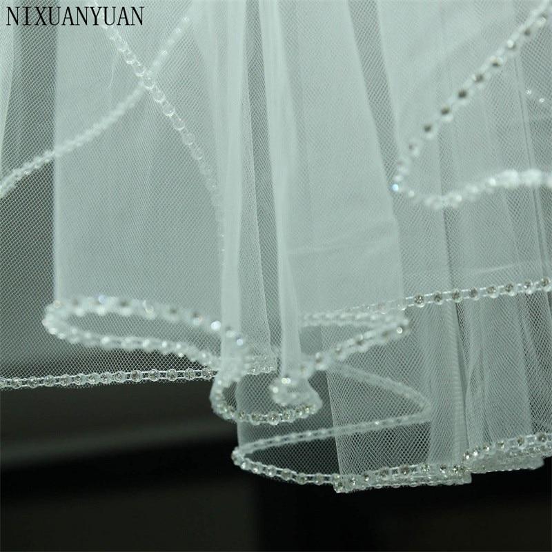Velo De Novia 2020 De una capa con peine velo De Novia jaula De pájaros tul blanco marfil Borde De cuentas corto De perlas velo De boda