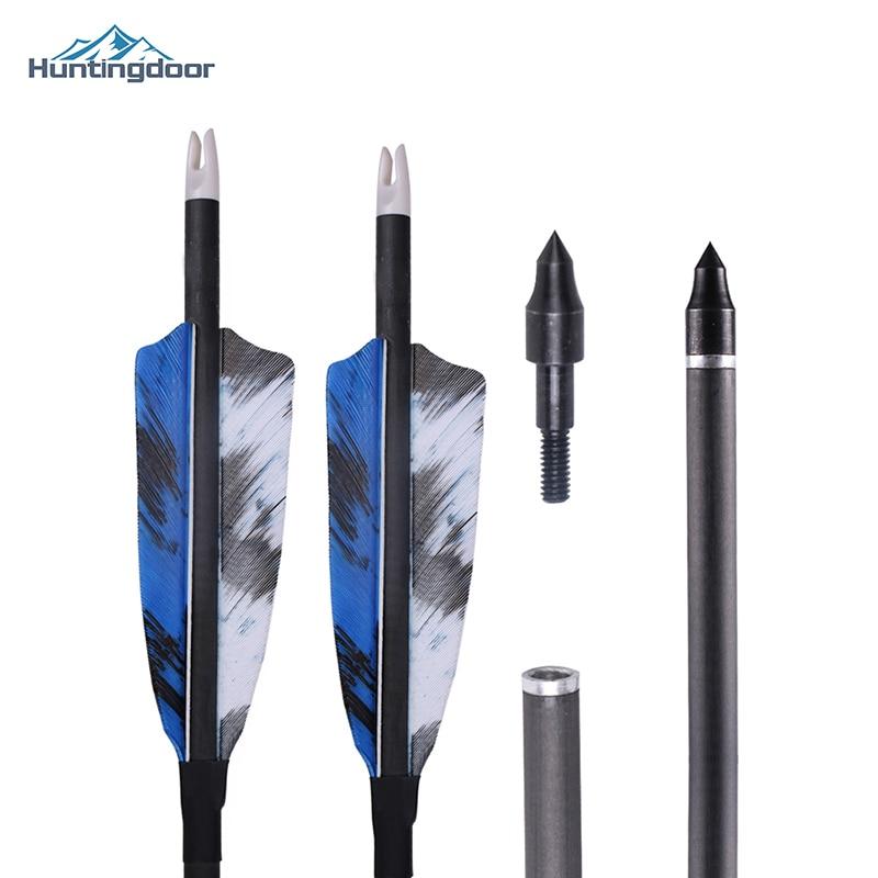 2019 novo 6/12 pçs huntingdoor mista seta de carbono 32 polegada diâmetro 7.8mm coluna 400 para recurvo arco tiro com arco caça
