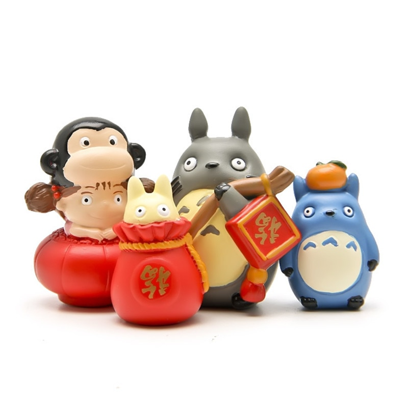 4 unids/set 3-4cm DIY Año del Mono mi vecino Totoro bolsa de la suerte Kumquat Mei figuras de acción