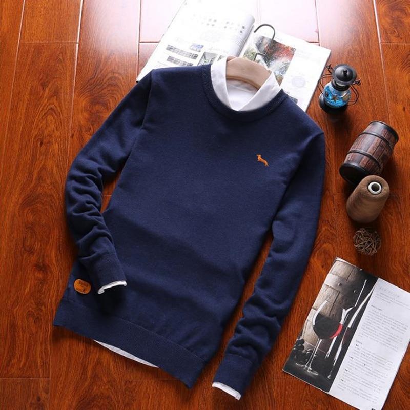 Nova primavera outono casual polos camisola dos homens pullovers sólidos manga longa algodão harmont o-pescoço outono blaine plus size suéteres