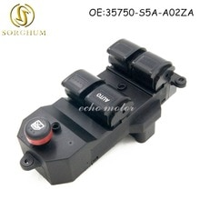 New 35750-S5A-A02ZA Black Electric Power LHD Window Master Switch for Honda Civic 2001-2005 35750S5AA02ZA