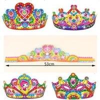 5pcs children diy cartoon paper crown toys for birthday party kids baby 53cm long art craft diy crown hat for kingergarden