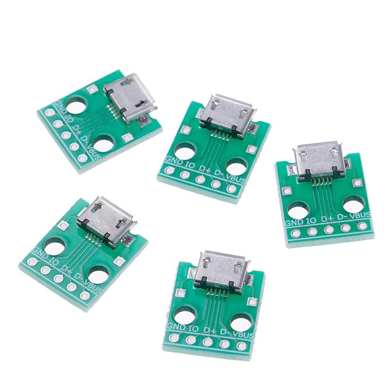 Nova venda quente 5pin conector fêmea micro usb para dip adaptador b tipo pcb conversor pinboard 2.54
