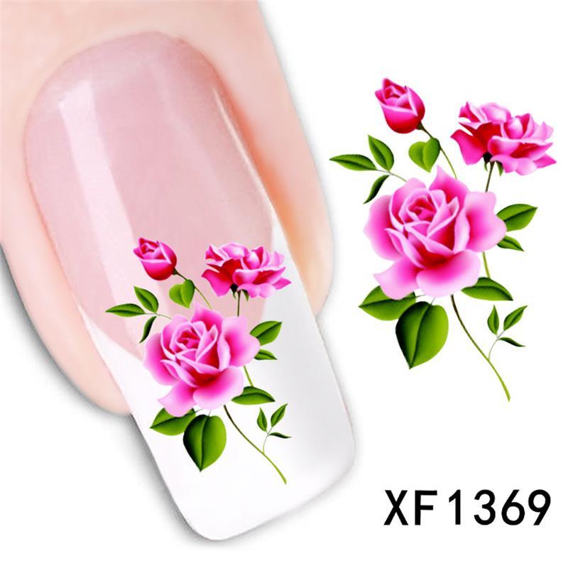 Rosa diseño de transferencia de agua uñas arte pegatina calcomanías señora mujeres manicura herramientas uñas envolturas calcomanías al por mayor