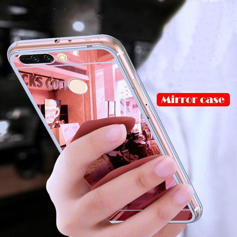 Célula blanda funda del teléfono para huawei P20 Lite P10 P8 P9 Lite Honor 8C 7A Pro 7X 10 9 8 lite espejo para huawei P inteligente P30 nova 4