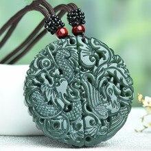 100% colgante de Jade HETIAN verde Natural dragón chino tallado COLLAR COLGANTE Fénix mujeres hombres amante joyería cuerda gratis