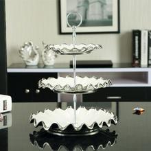 Plateau en céramique incrustation argent   Europe, porcelaine Double Decker plats et assiettes gâteau pâtisserie fruits porcelaine plateau en céramique décor de fête
