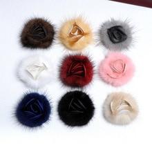 5 pcs/lot vison fourrure fleur fourrure pompon résultats de bijoux à bricoler soi-même vison pour broche vêtement en tissu faisant de lartisanat