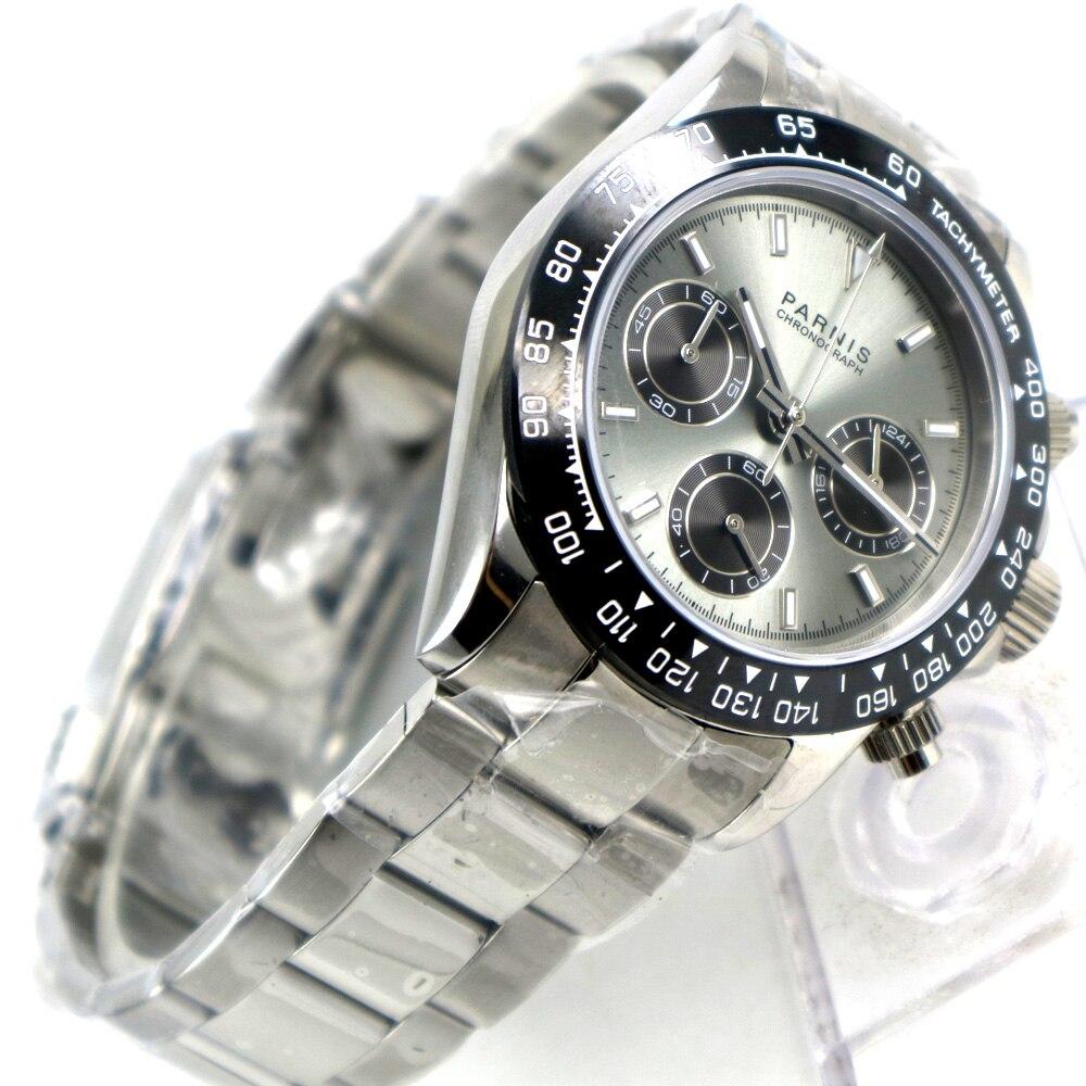 Мужские кварцевые часы PARNIS, с серым циферблатом и кристаллом sapphire, с полным таймером, 39 мм