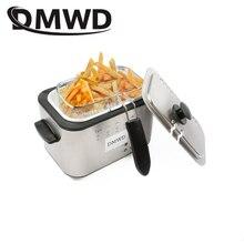 DMWD 1.2L acier inoxydable simple réservoir électrique friteuse sans fumée frites poulet marmite gril Mini Hotpot four EU US