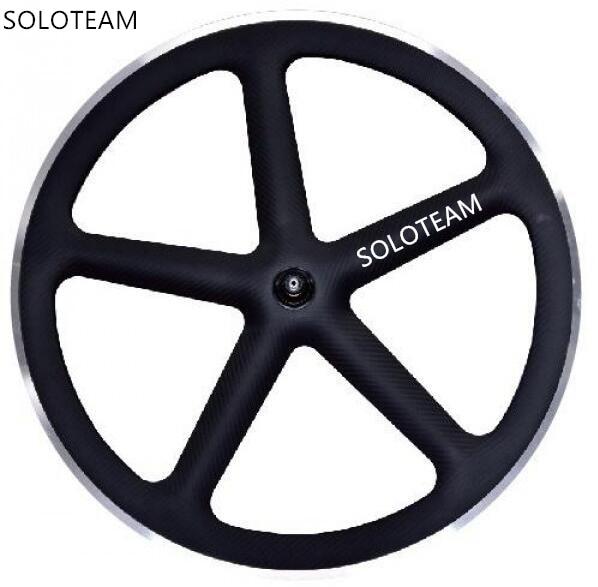 Envío gratis de aleación de carbono superficie de frenado 5 habló clincher ruedas 700c bicicleta de carbono ruedas fijas