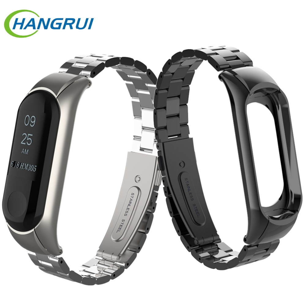 Stainless steel wrist strap for xiaomi mi band 3 4 metal watch band smart bracelet miband 3 belt replaceable watch straps mi 4