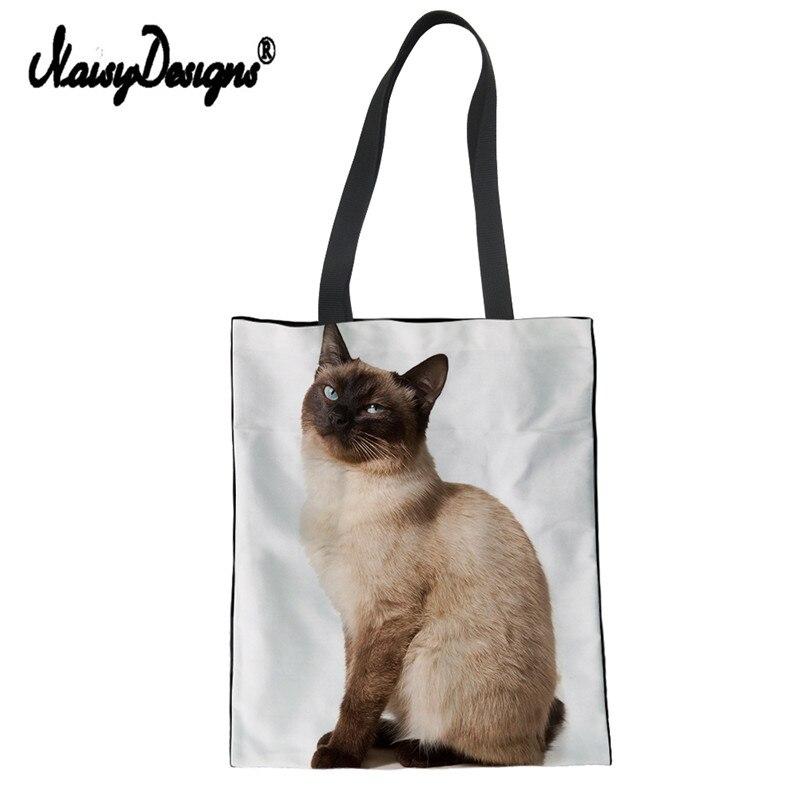 Bolso de Compras colorido Saco Compras Animal gato siamés Bolsos De Mujer lona de algodón bolsas de Compras bolsa de hombro de lino de mano
