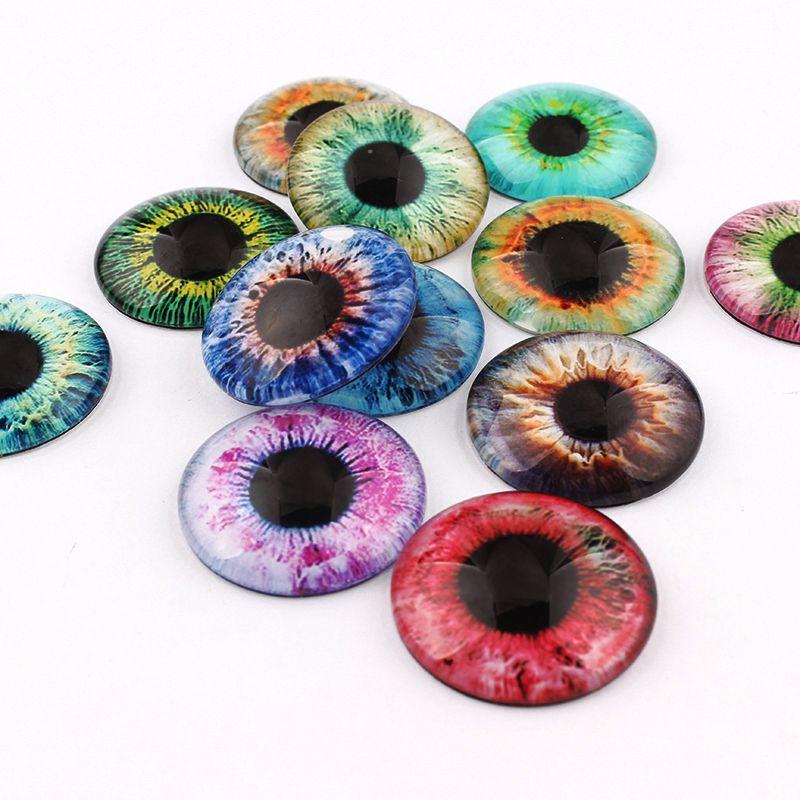 10/12/16/18/20/25mm Color mixto todo en pares Ojos de dragón joyería cabujón de cristal redondo buscando engastes de colgante de camafeo 20 unids/lote