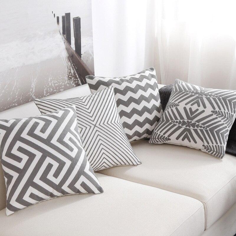Наволочка для подушки с вышивкой в скандинавском стиле, Геометрическая, серая, белая, в полоску, для дивана, подушки из полиэстера и хлопка, наволочка для подушек в спальне
