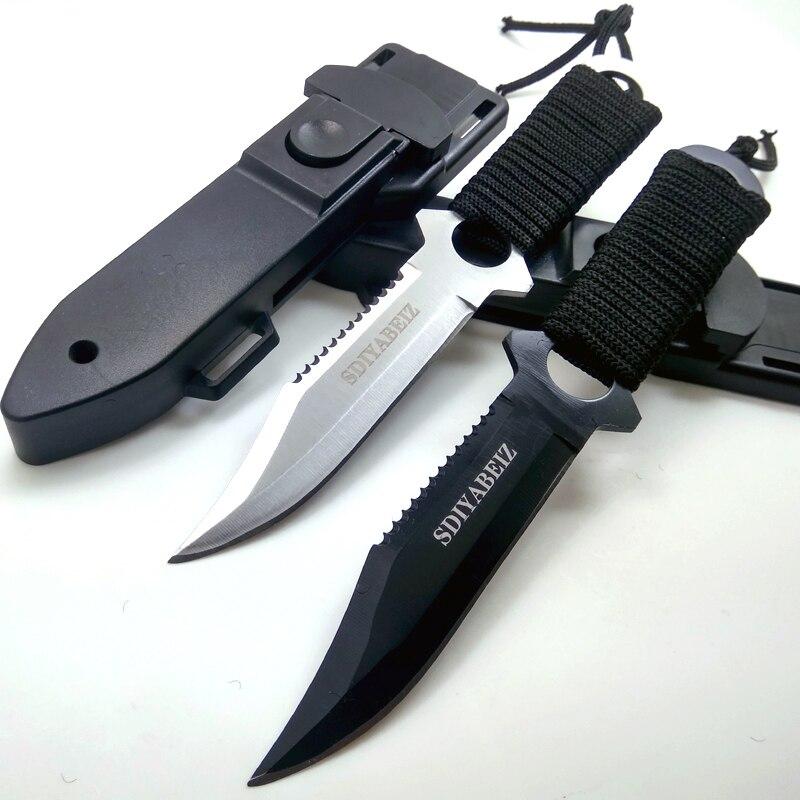 Cuchillo táctico afilado de acero inoxidable, cuchillo recto de buceo para caza, cuchillo de bolsillo de supervivencia al aire libre para acampar, herramienta y funda de ABS