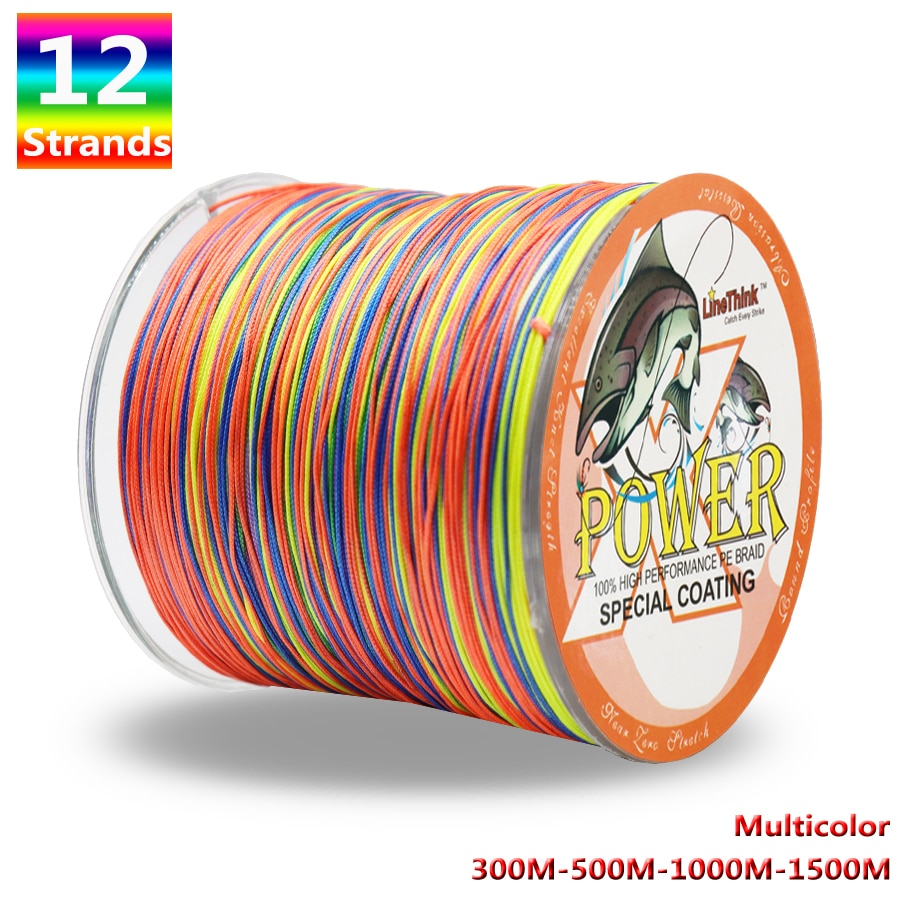 Power 12 Stränge Geflochtene Angelschnur 300m 500m 1000m 1500m Multicolor Super Starke Japan Multifilament PE braid Linie 35LB-180LB