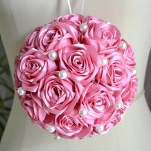 Ramo de novia para boda 2017 fleur fille embrasser balle Rose foncé mariage fleur boule perles perles Rose fleurs décor de mariage