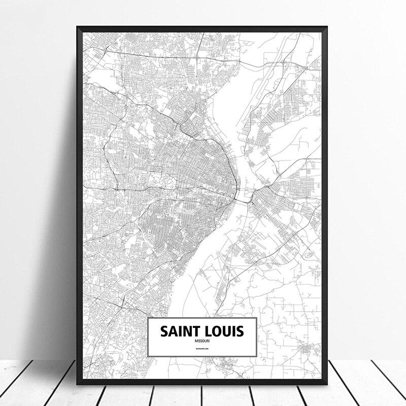 Póster de San Louis, Missouri, Estados Unidos, negro, blanco, personalizado, mapa de ciudades del mundo, impresión en lienzo, arte de pared de estilo nórdico, decoración del hogar