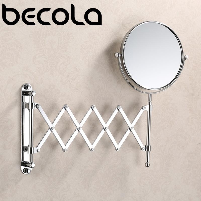 BECOLA-مرآة مكياج مستديرة ، مرآة حمام قابلة للسحب على الوجهين ، دوران 360 درجة ، 8 بوصات ، 3 ×