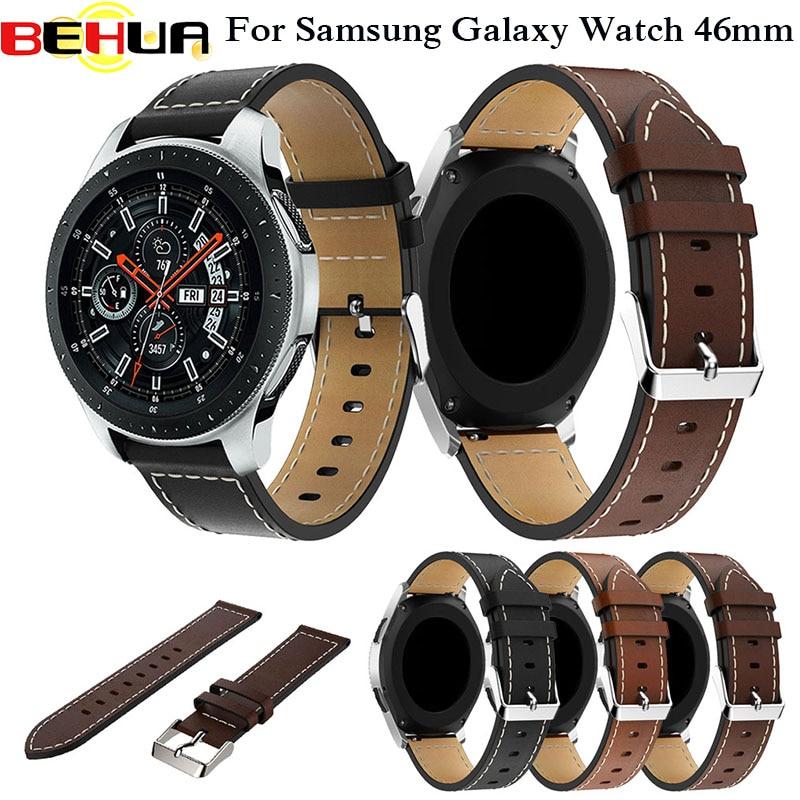 Pulseira de couro de 22mm, correia de pulso clássica para relógio inteligente samsung galaxy 46mm SM-R800