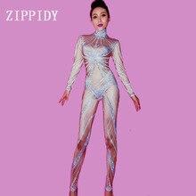 Combinaison avec des strass argentés   Stretch couleur chair, pantalon femme de Performance, pantalon de chanteur, body lumineux, Costume discothèque