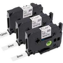 3 pces preto na fita branca de tz TZe-231 12mm, TZe-221 9mm, TZe-211 6mm compatível para o irmão p toque d400 h110 d600 p750 fita da etiqueta