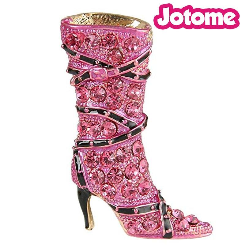 100 unids/lote, envío gratis, broche de broche para botas de tacón alto con diamantes de imitación de cristal negro esmaltado para mujer