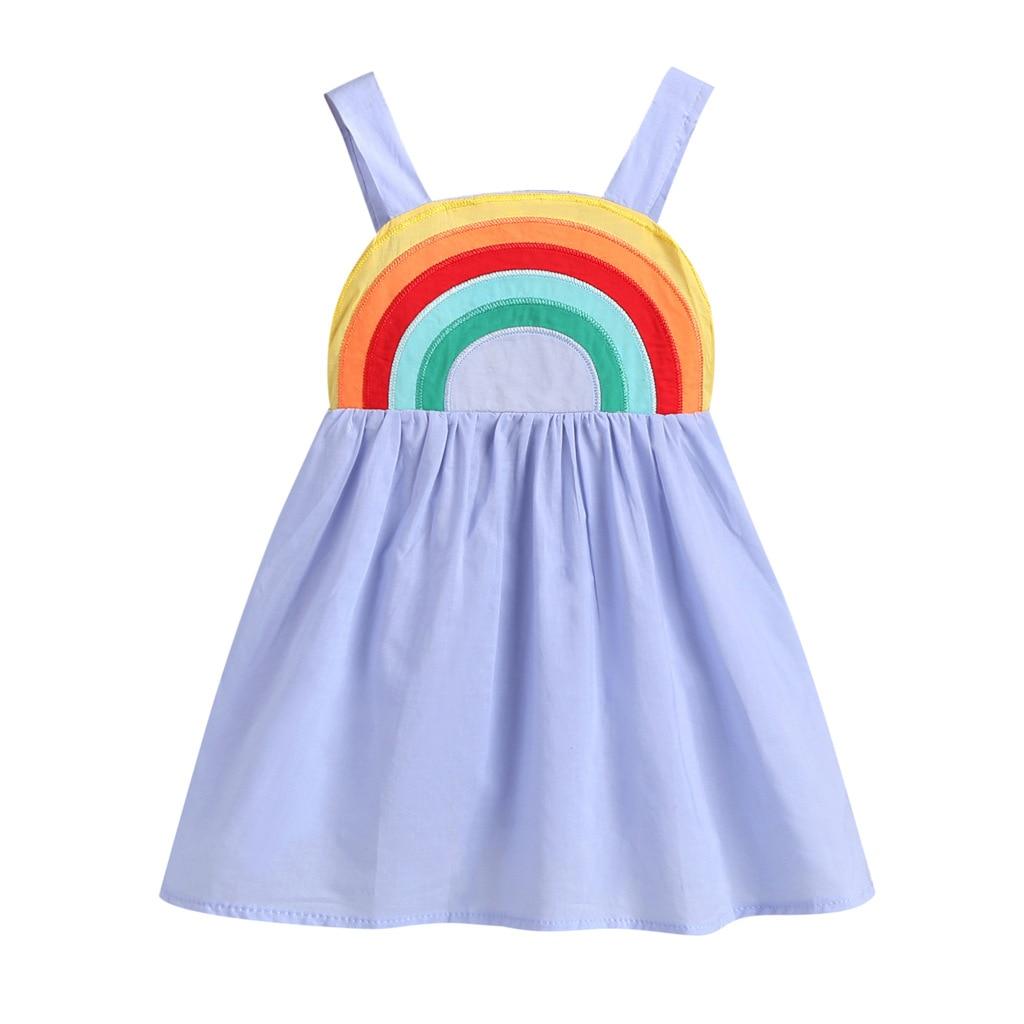 ¡Novedad! Vestido Casual de verano para niñas de 1 a 7 años sin mangas con tirantes de arco iris y espalda al aire