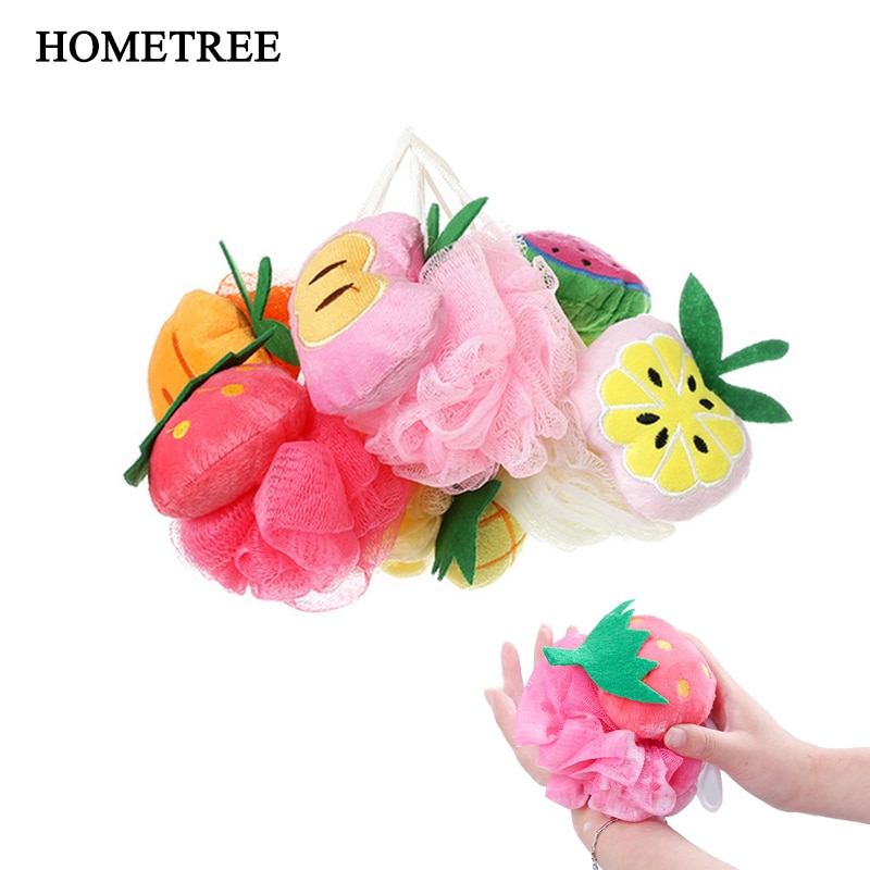 HOMETREE Bola de ducha forma de fruta Toalla de baño suave algodón Flor de baño fresa melocotón esférico baño de algodón suministros de baño H10