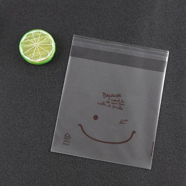 500 قطعة ابتسامة مطبوعة السلوفان كوكي حقيبة مع لاصق البسكويت البلاستيك التعبئة حقيبة الزفاف لصالح أكياس الحلوى OPP أكياس 14x14