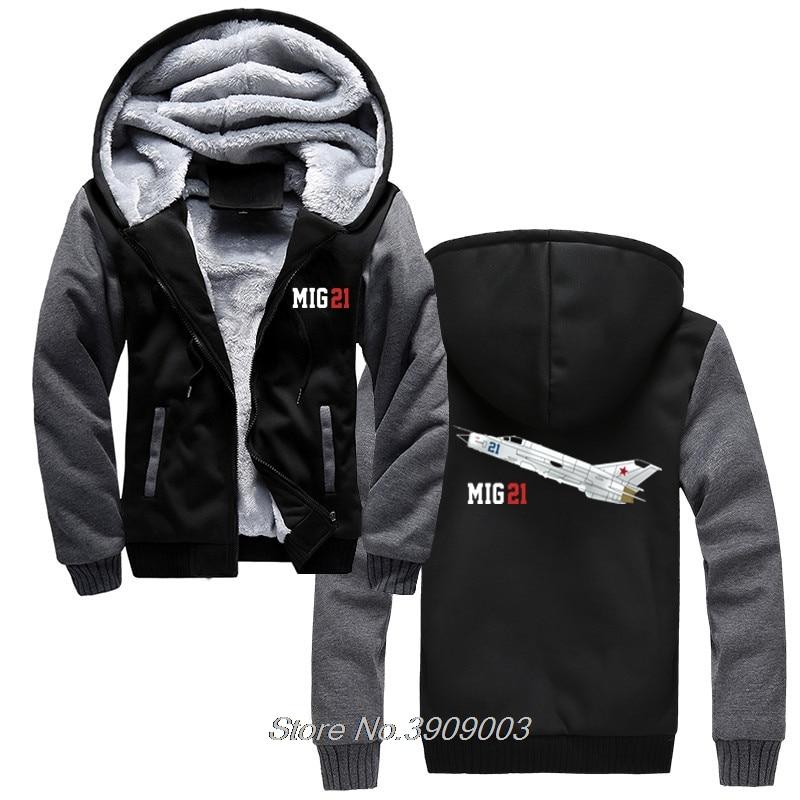 Aeroclassic MiG 21 Aircraft Hoodie Men Thick Zipper Sweatshirts Male Casual Hoody Cool Jacket Tops Harajuku Streetwear