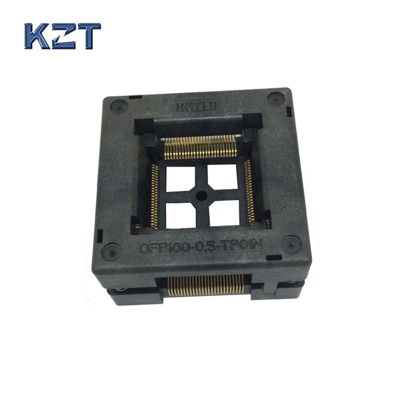 Бесплатная доставка TQFP100 FQFP100 LQFP100 сжигание в сокете OTQ-100-0.5-09 шаг 0,5 мм IC Размер корпуса 14x14 мм Открытый Топ тестовый адаптер