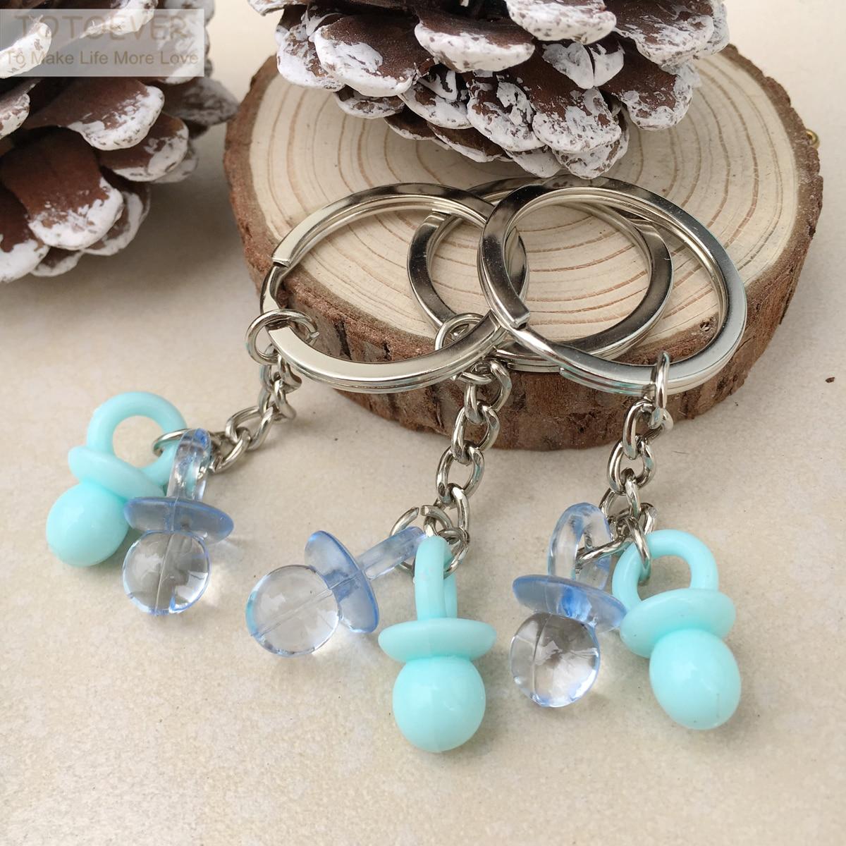 Llavero pezón 10 Uds azul acrílico y rosa para bebé accesorios de fiesta de cumpleaños recuerdos de boda recuerdo de ducha para bebé