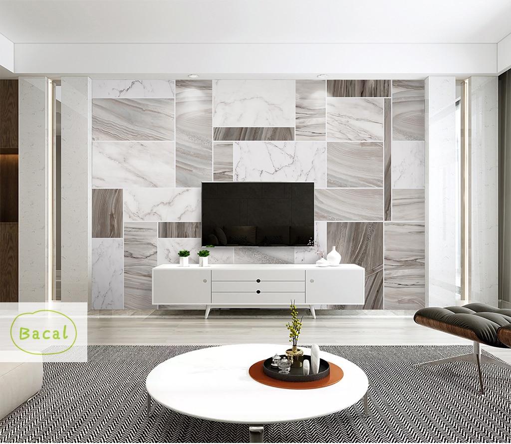 Papel tapiz geométrico de hormigón Bacal, pegatina de pared 3d para sala de estar, 5d fondo de sala, decoración de pared de mármol blanco, impresión en 3d, Mural de pared