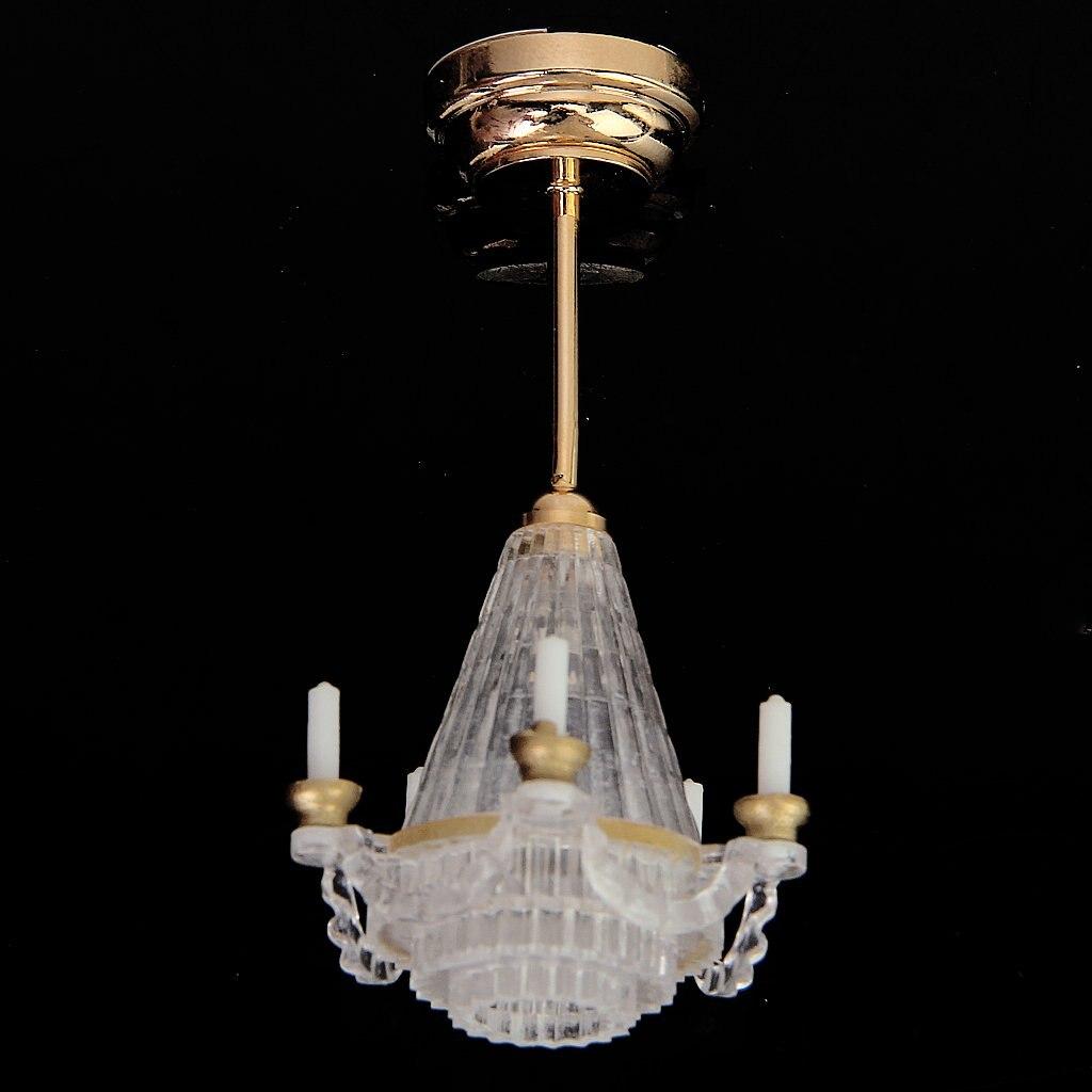 ¡Superventas! Candelabro LED dorado MACH 112 para casa de muñecas en miniatura Lichtstativ cinco velas falsas transparentes