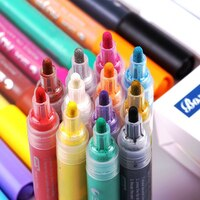 12 24 Colors DIY Acrylic Marker Painter Pen Highlighter Waterproof Permanent Paint Pen Works on Most Surfaces Art Design School