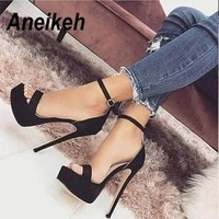 aneikeh 2021 new 14 5cm platform high heels sandals summer sexy ankle strap open toe gladiator party dress womens shoes size 42
